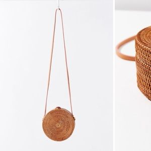 Urban outfitters wicker circle bag
